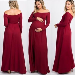 PinkBlush Maroon Off Shoulder Maternity Maxi Dress